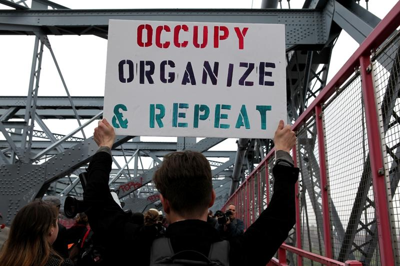 Protesters cross the Williamsburg Bridge on May 1, 2012.