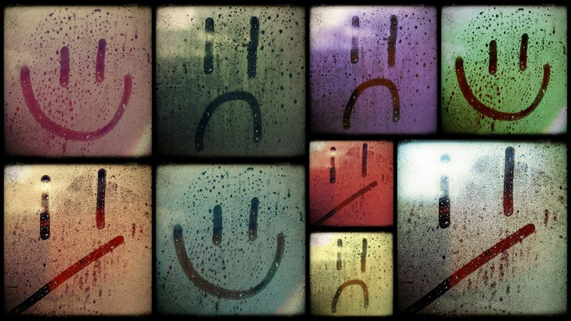 Smiley faces on glass
