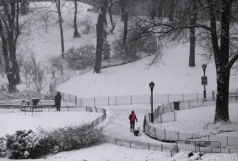 People walk through Central Park during a snowstorm February 10, 2010 in New York City.