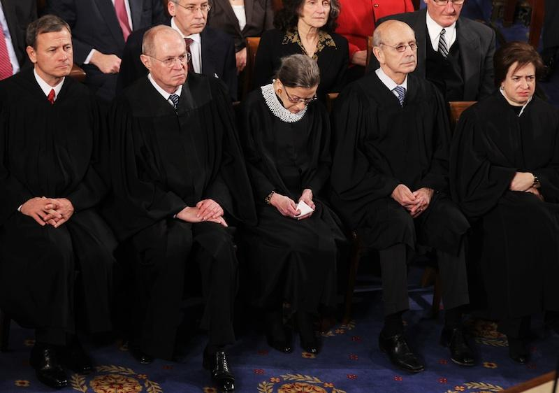 Supreme Court Justices John Roberts, Anthony Kennedy, Ruth Bader Ginsburg, Stephen Breyer, and  Elena Kagan attend President Obama's State of the Union speech on January 24, 2012.