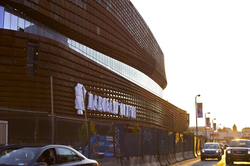 Letters newly erected and still shrouded on the Atlantic Avenue side of Barclays Center on August 8, 2012