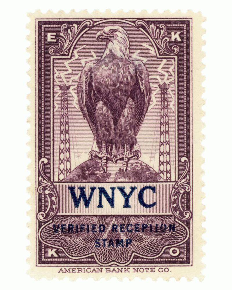 WNYC EKKO reception verification stamp from the 1920s