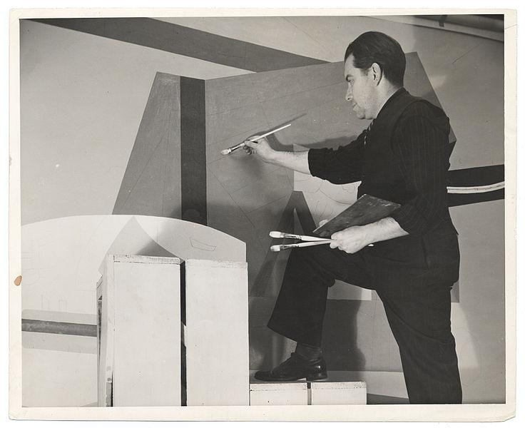 Stuart Davis, at work on his WNYC studio mural for the Federal Art Project. January, 25 1939.