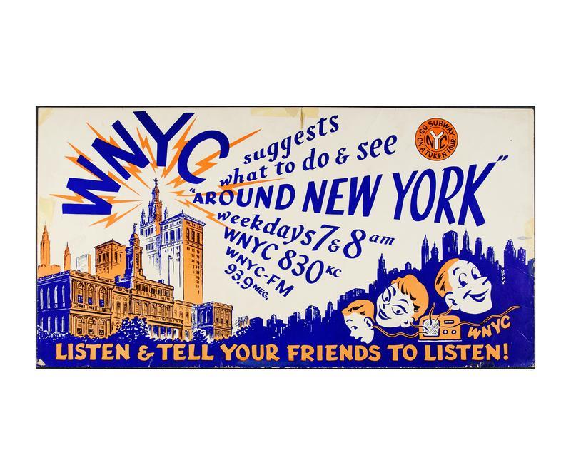 """WNYC """"Around New York"""" subway poster, circa 1950"""