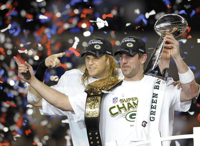 Green Bay Packers quarterback Aaron Rodgers after NFL Super Bowl XLV.