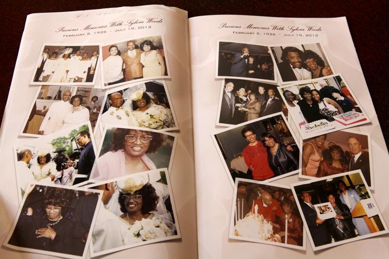 Pictures of Sylvia Woods in the program for her wake.