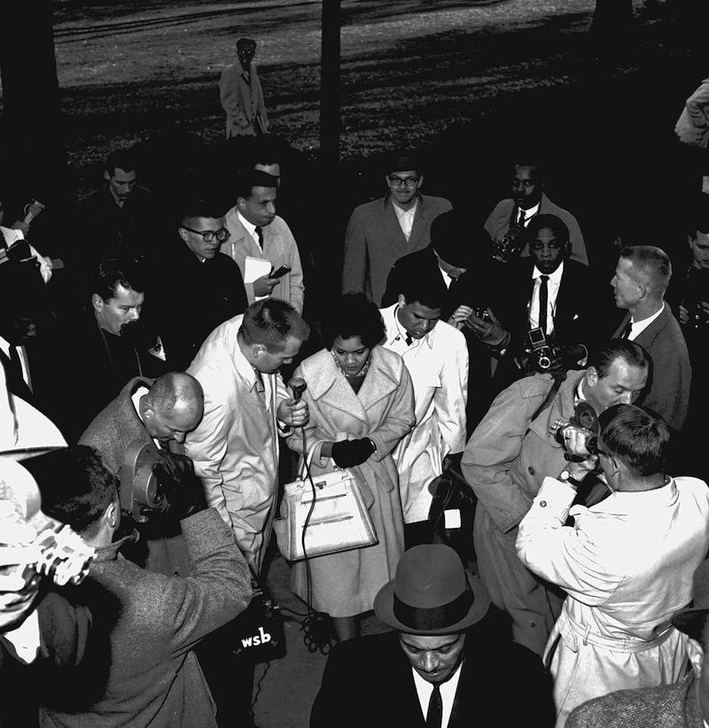 Hamilton Holmes and Charlayne Hunter-Gault were surrounded by newsmen when we arrived on the Athens campus of the University of Georgia on January 9, 1961.