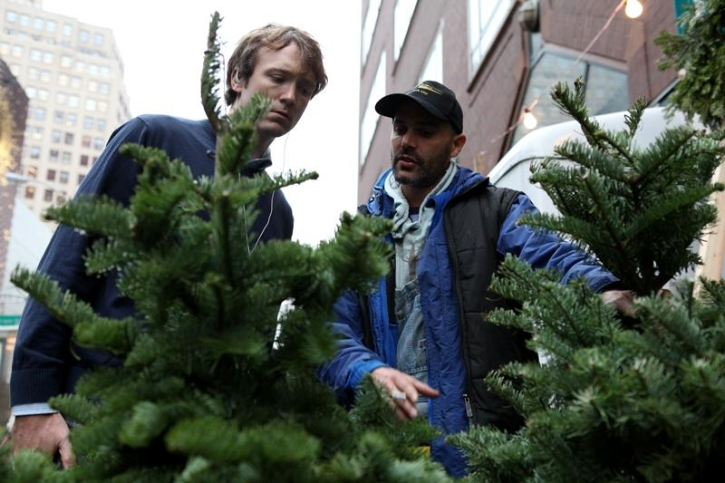 Jonathan Lerner selling Christmas trees at Union Square.