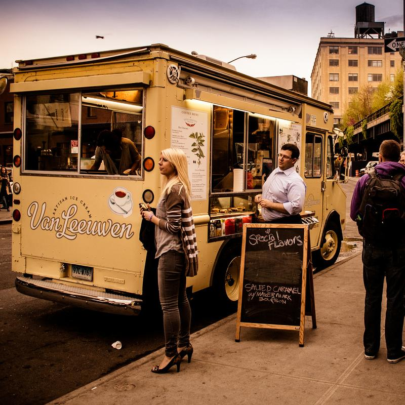 The Van Leeuwen food truck parked in Union Square