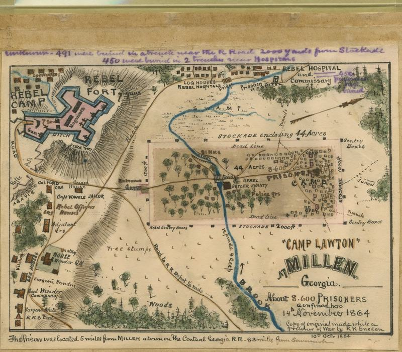 """Camp Lawton"" at Millen, Georgia : about 8,600 prisoners confined here 14th November 1864."