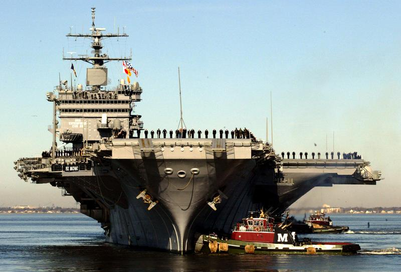 The aircraft carrier USS Enterprise returns from a six-month deployment February 29, 2004 at the Norfolk Naval Station in Norfolk, Virginia.