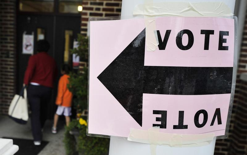 A Republican primary voter enters a polling station in Columbia, South Carolina, January 21, 2012.
