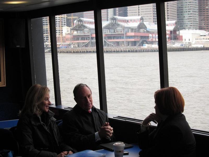 (From left) Commissioner Burden, Mayor Bloomberg and Speaker Quinn ferry across across the East River before Monday's announcement