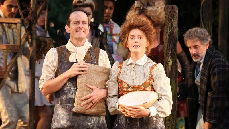 Denis O'Hare and Amy Adams in the Shakespeare in the Park production of <em>Into the Woods</em>.