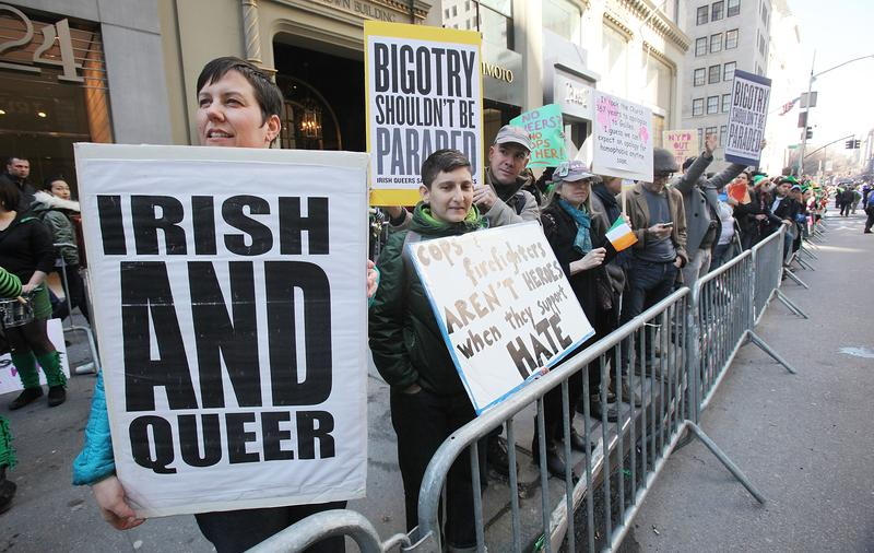 Lesbian, gay, bisexual and transgender activists protest the participation of NYPD members during the 250th annual St. Patrick's Day parade March 17, 2011 in New York City.