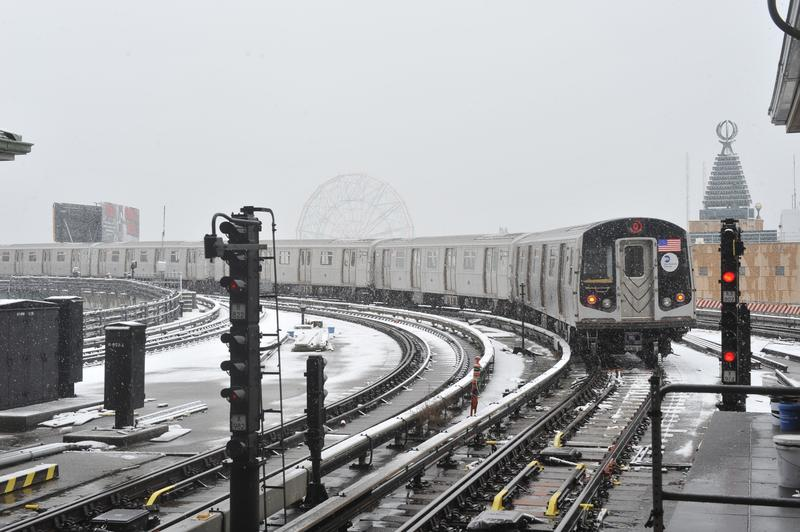 Snow on a Q train, back in December 2013