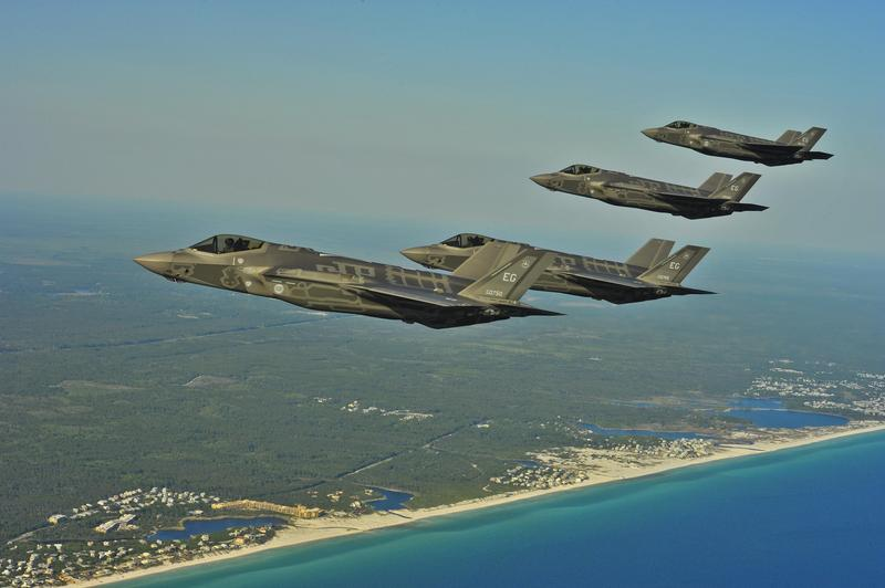 F-35A Lightning II Joint Strike Fighters from the 58th Fighter Squadron perform an aerial refueling mission May 14, 2013, off the coast of Northwest Florida.