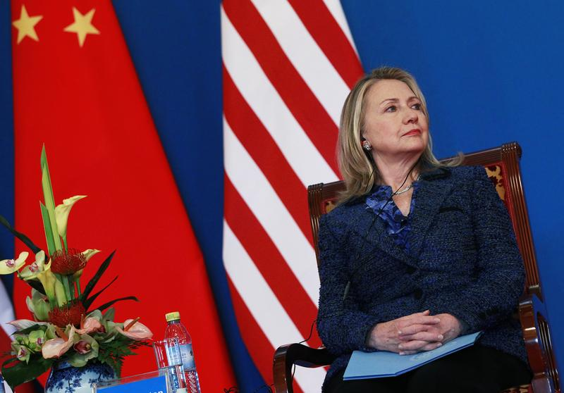 US Secretary of State Hillary Clinton sits during the opening ceremony of the US-China Strategic and Economic Dialogue at the Diaoyutai Guesthouse in Beijing on May 3, 2012.