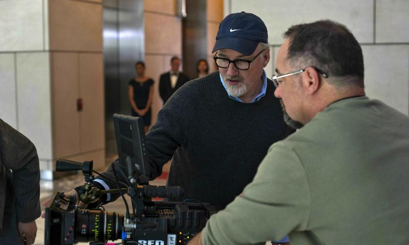 David Fincher on the set of <em>Gone Girl</em>