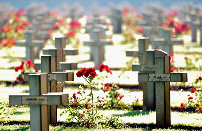 A picture taken on August 1,2013 shows graves at Notre Dame de Lorette's necropolis at the World War One military cemetery in Ablain-Saint-Nazaire, northern France.