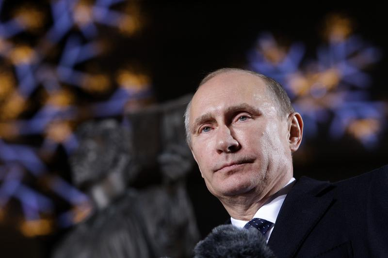 Russian President Vladimir Putin speaks during the unveiling ceremony of Pushkin statue at Lotte Hotel Seoul on November 13, 2013 in Seoul, South Korea.