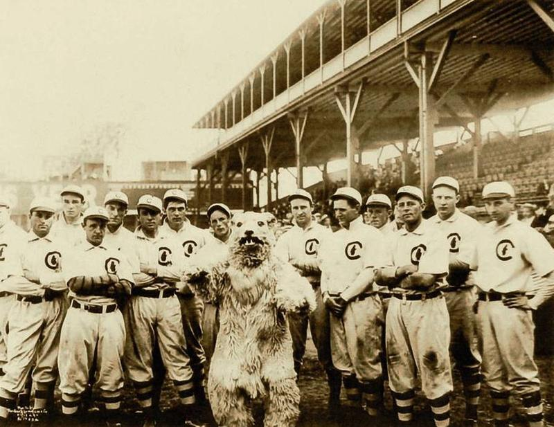 1908 Chicago Cubs with mascot.