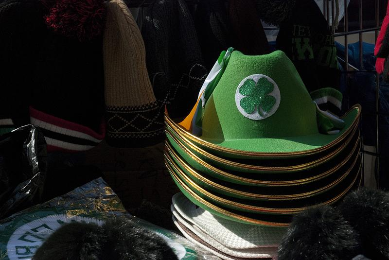 A stack of shamrock hats sit on a vendor's table on seventh avenue in midtown Manhattan the Friday before St. Patrick's Day.