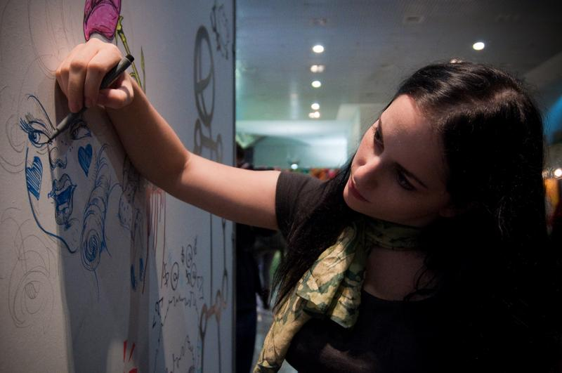 Molly Crabapple at a 2009 show in Sao Paulo, Brazil