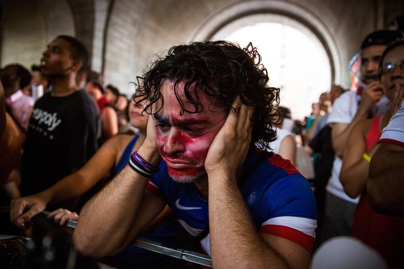 Christian Raja of Brooklyn reacts at a missed attempt on goal by the USA during overtime against Belgium in the World Cup. July 1, 2014