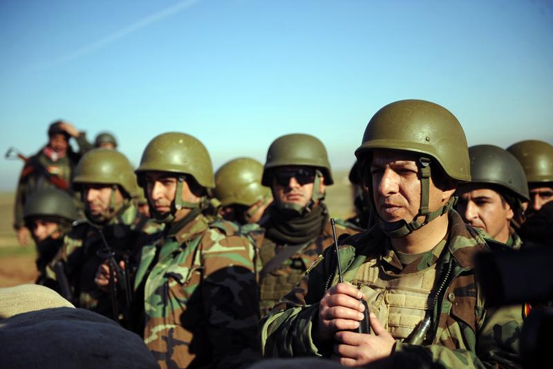 Peshmerga Special Forces during clashes between ISIL militants and Peshmerga outside of Mosul.