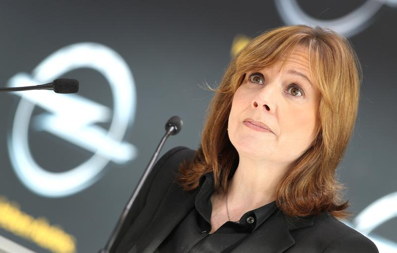 Mary Barra, a new CEO of US carmaker General Motors GM addresses the media during a news conference at the headquarters of the company's German subsidiary Opel in Ruesselsheim, on January 27, 2014.