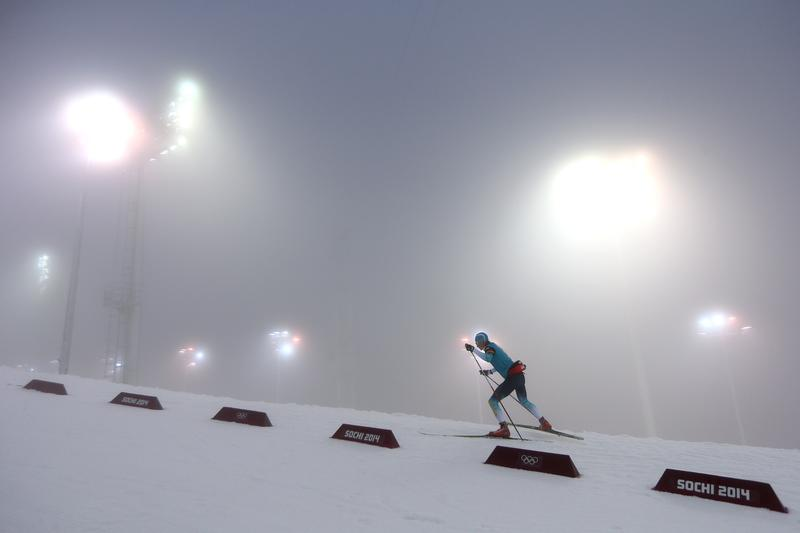 Swedish biathlete warms up for in the Men's 15 km Mass Start during day nine of the Sochi 2014 Winter Olympics at Laura Cross-country Ski & Biathlon Center on February 16, 2014 in Sochi, Russia.