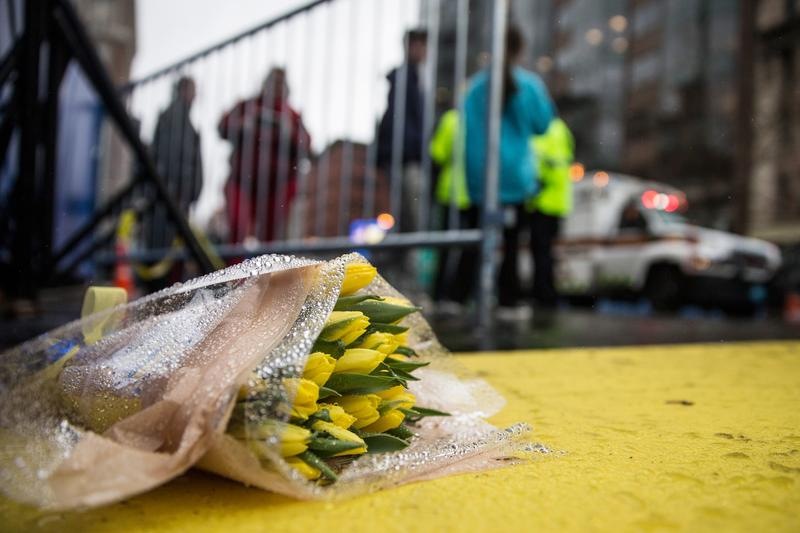 Flowers lie on the finish line of the Boston Marathon on the one year anniversary of the 2013 Boston Marathon Bombing, on April 15, 2014 in Boston, Massachusetts.