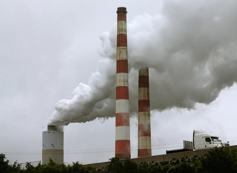 Emissions spew out of a large stack at the coal fired Morgantown Generating Station in Newburg, Maryland on May 29, 2014.