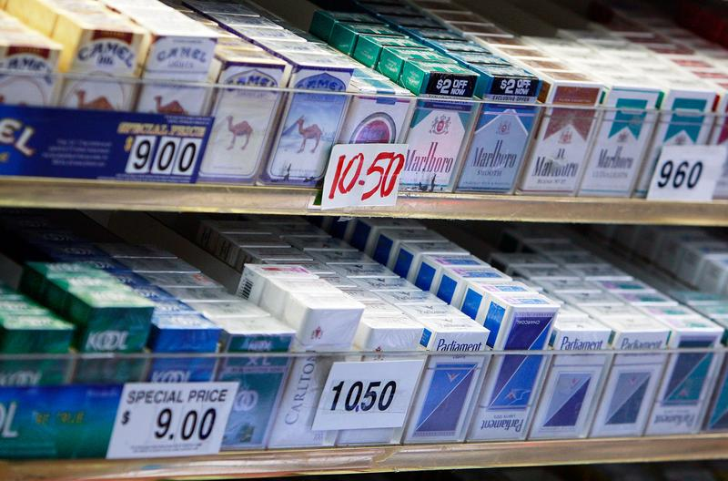 Cigarette packs are on display for sale in a shop April 1, 2009 in New York City.