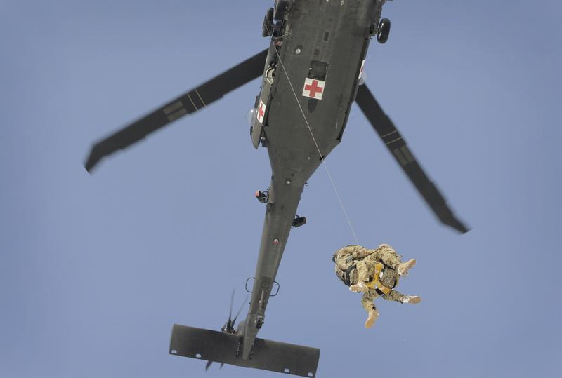 A demonstration of a U.S. medevac helicopter in 2012.