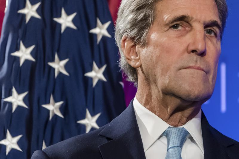 In this Oct. 4, 2016 photo, U.S. Secretary of State John Kerry pauses, during a speech at an event hosted by The German Marshall Fund (GMF) and the U.S. Mission to the EU at Concert Noble in Brussels.