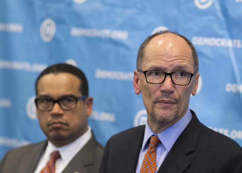 Newly elected Democratic National Committee Chairman Tom Perez, right, and Rep. Keith Ellison, D-Minn., who was named deputy chairman.