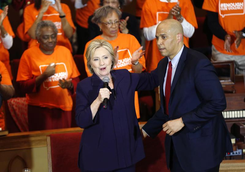 Sen. Corey Booker, D-N.J., introduces Democratic presidential candidate Hillary Clinton at a campaign event at the Cumberland United Methodist Church in Florence, S.C., Thursday, Feb. 25, 2016.