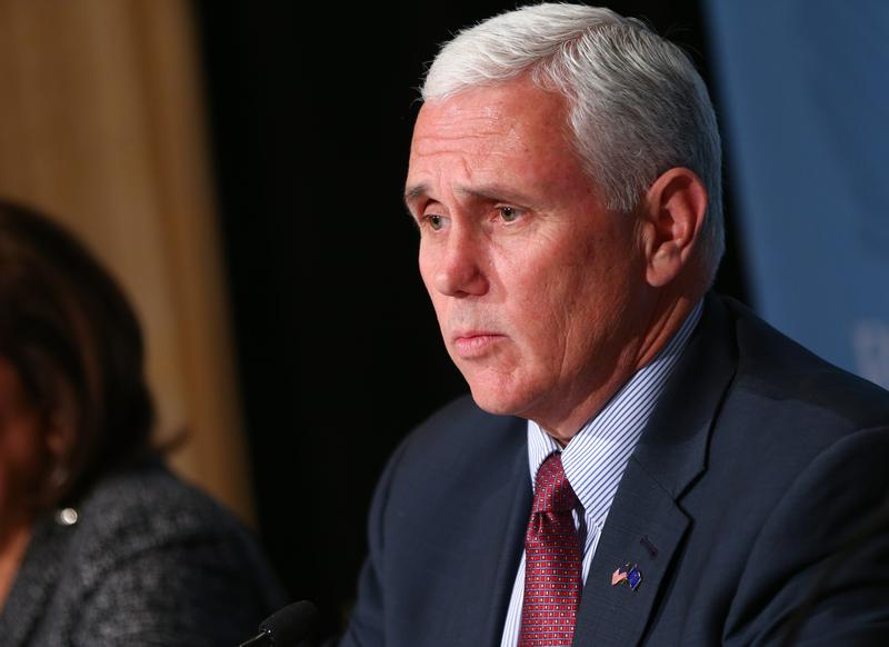 Indiana Gov. Mike Pence speaks during a news conference at the Republican Governors Association annual conference Wednesday, Nov. 18, 2015, in Las Vegas.