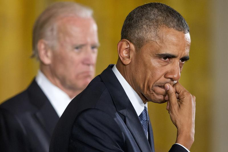 Jan. 5, 2016: An emotional President Barack Obama, joined by Vice President Joe Biden, pauses as he recalled the 20 first-graders killed in 2012 at Sandy Hook Elementary School.