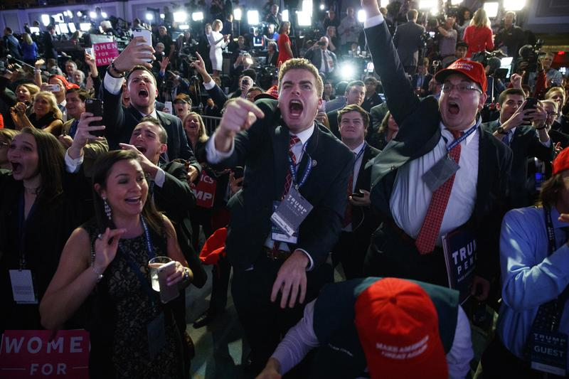 Supporters of President-elect Donald Trump cheer as they watch election returns during an election night rally, Nov. 8, 2016, New York