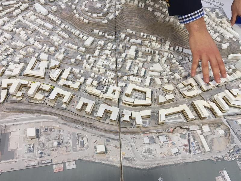The Department of City Planning shows off a scale model of what Bay Street in Staten Island could look like under a possible rezoning plan.