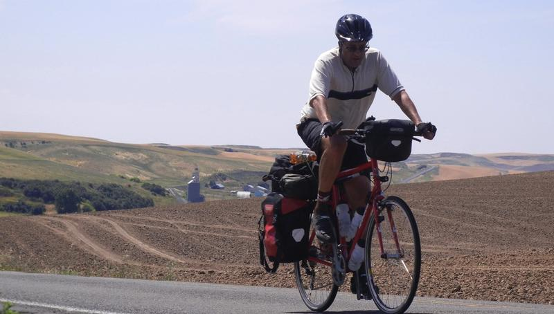 Bruce Weber bicycling across the United States