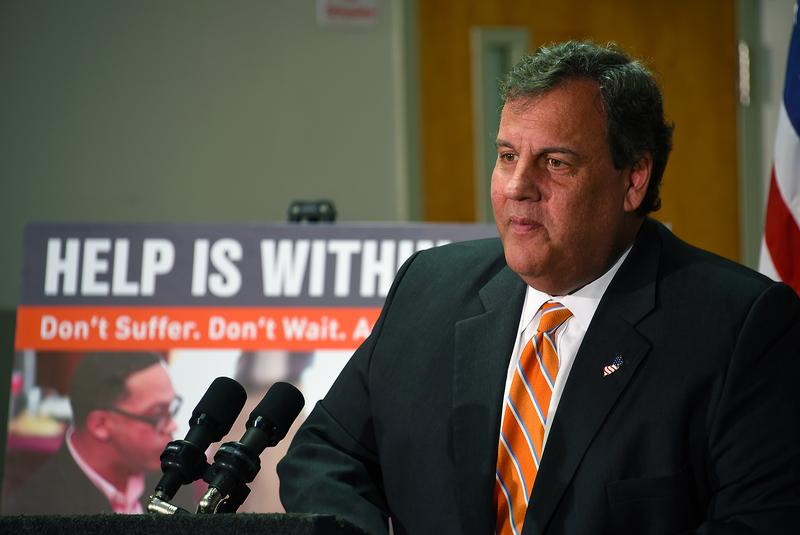 New Governor Chris Christie visits the state's hotline for addiction in April 2017.