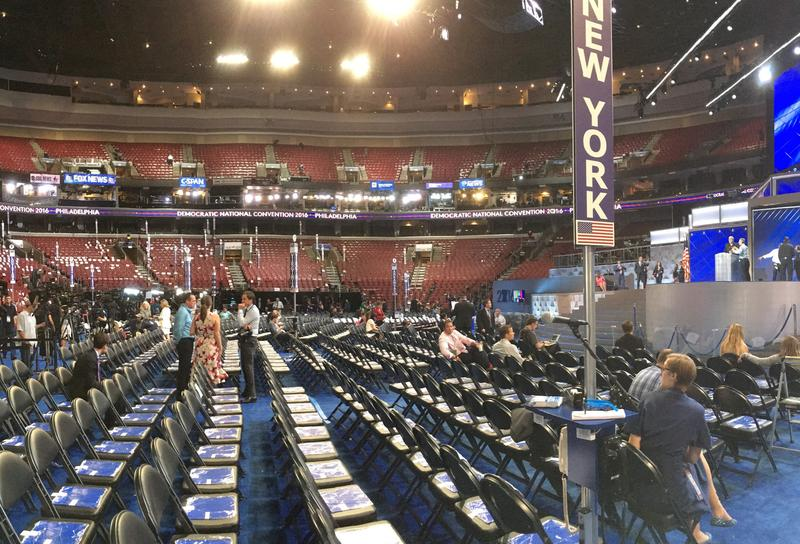 A few from the NY delegation seating area on the floor of the DNC.