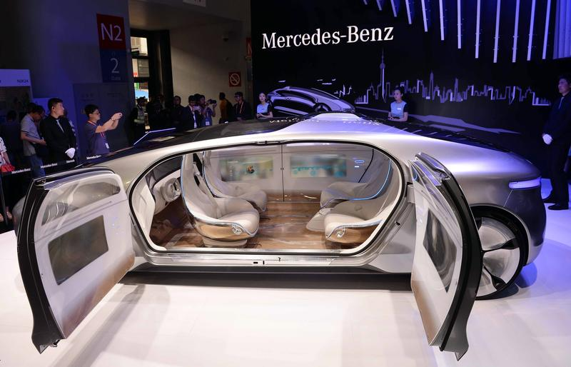 A driverless car from Mercedes-Benz is seen on display during the first Consumer Electronics Show (CES) in Asia in Shanghai on May 26, 2015.