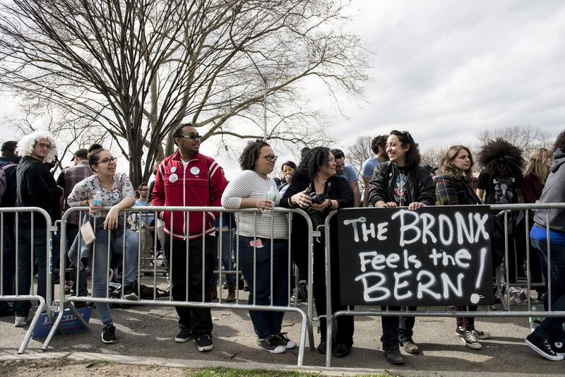 Bernie Sanders holds a campaign rally in the Bronx.