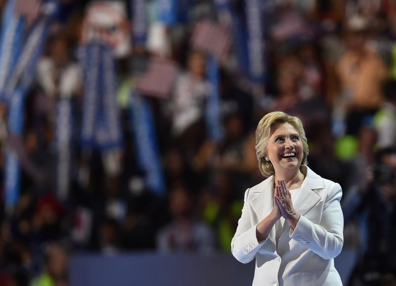 Presidential nominee Hillary Clinton gestures after the fourth and final day of the Democratic National Convention on July 28, 2016 in Philadelphia, Pennsylvania.