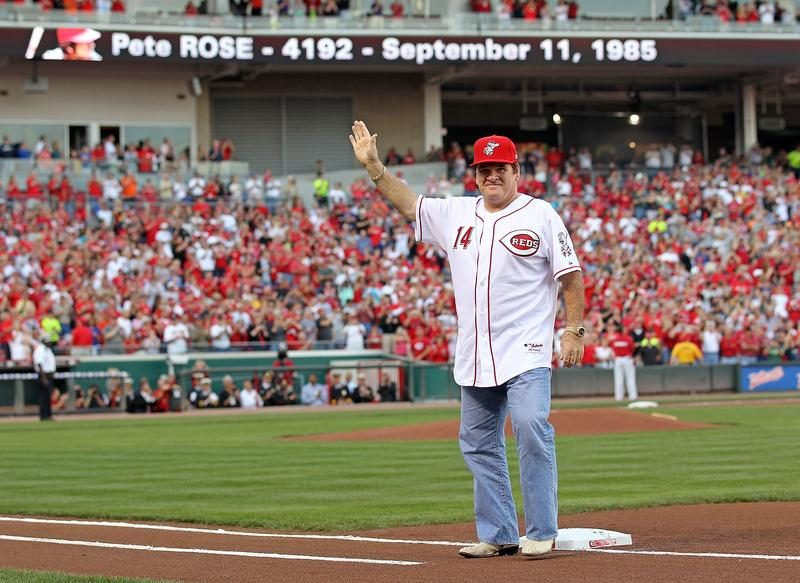 Pete Rose at the ceremony celebrating the 25th anniversary of his breaking the career hit record of 4,192 on September 11, 2010, at Great American Ball Park in Cincinnati, Ohio.